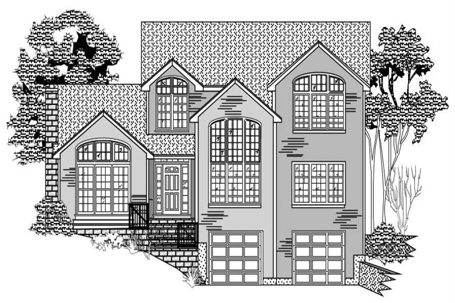 This is a black and white front elevation of these Houseplans.