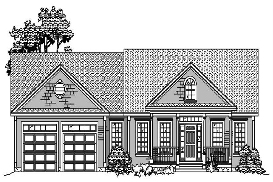 This is the front elevation for these Ranch Homeplans.