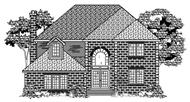 This is the black and white front elevation of these Traditional House Plans.