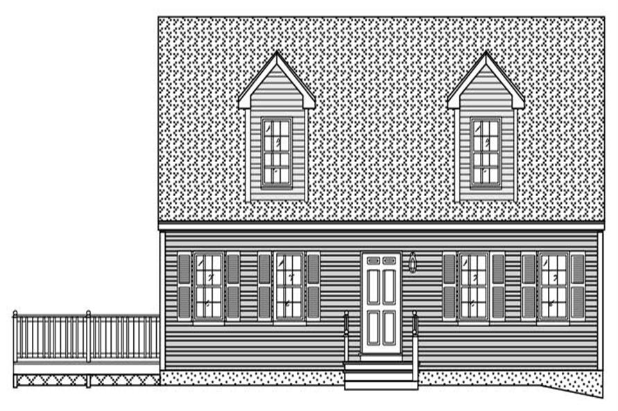This is the black and white front elevation for these Country Home Plans.