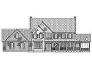 This image shows a black and white rendering of the front elevation of these Farmhouse Home Plans.