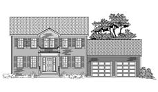 This is the front elevation of these Colonial Houseplans.