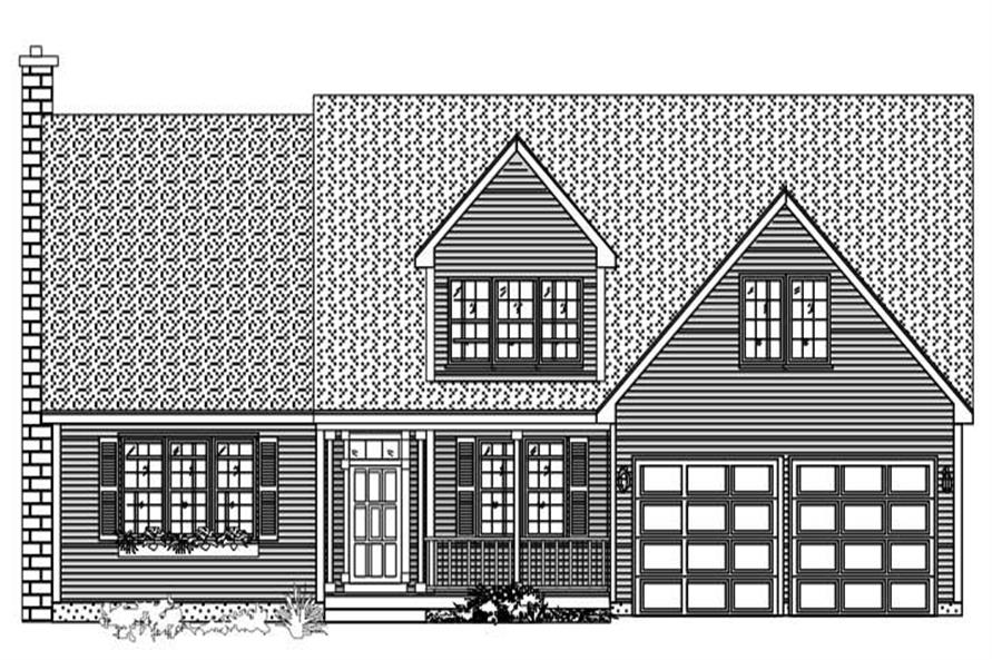 This is a black and white front elevation of these Country Home Plans.