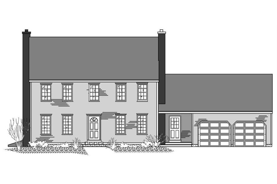 This is the front elevation of these Colonial House Plans.
