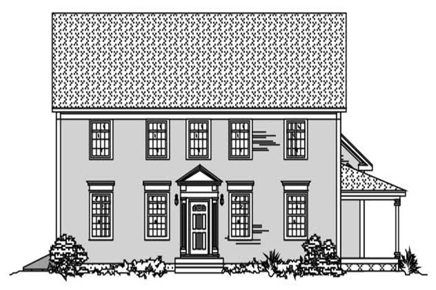 This image shows the front elevation of these Colonial Home Plans.