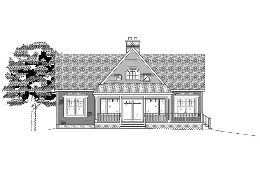 This is the front elevation of this set of Traditional Houseplans.