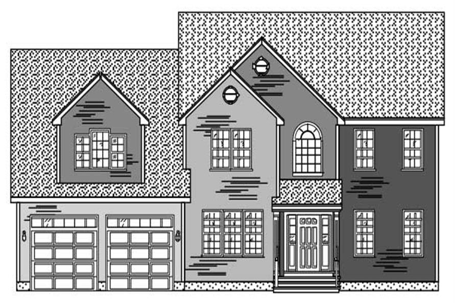 This is a black and white elevation of these Traditional House Plans.