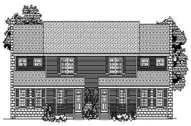 This is the front elevation of these multi-unit house plans.
