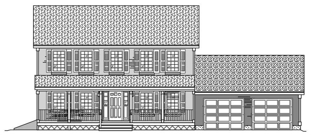 This image shows the front elevation for these Country houseplans.