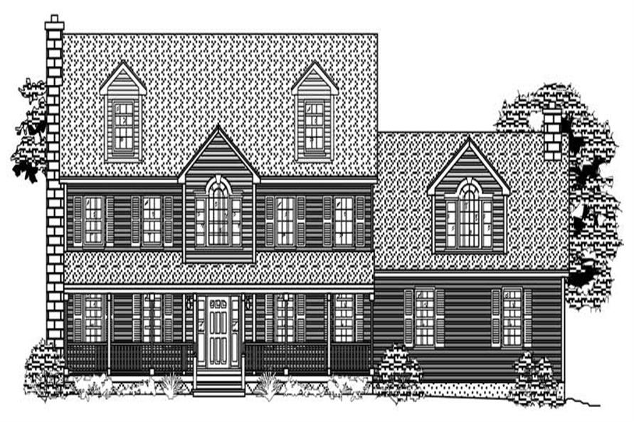 This is the black and white front elevation for these Farmhouse House Plans.
