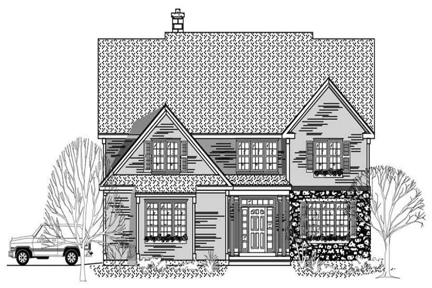 This is the front elevation for these Traditional Houseplans.
