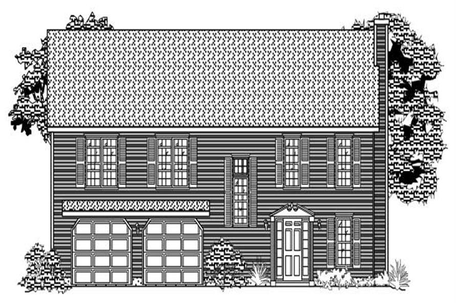 This is a black and white rendering of these House Plans.