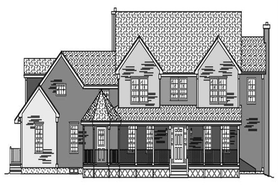 This is an artist's rendering of these Farmhouse Houseplans.