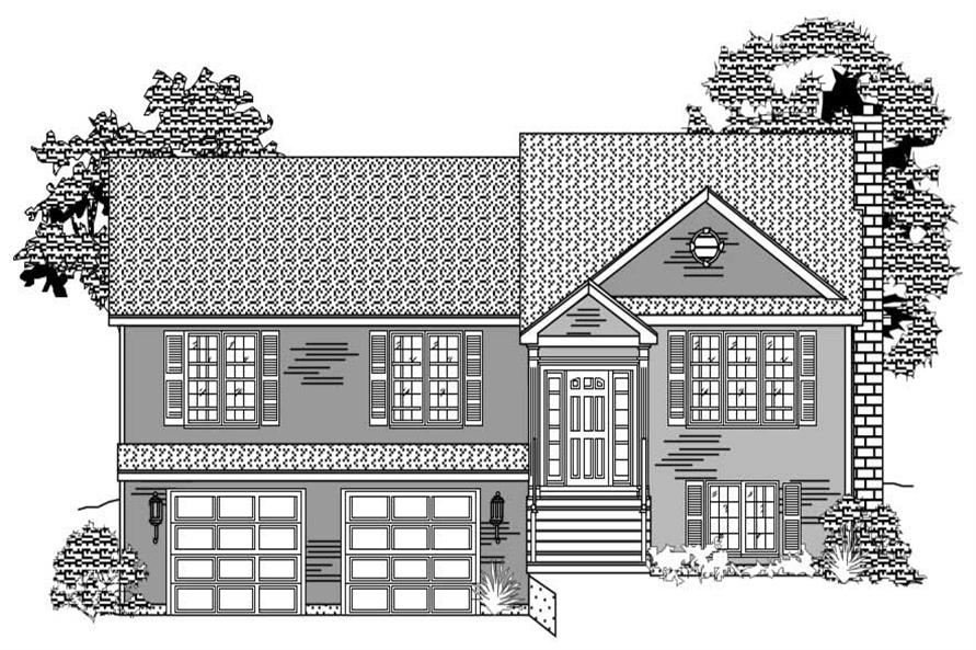 3-Bedroom, 1408 Sq Ft Multi-Level House Plan - 110-1090 - Front Exterior
