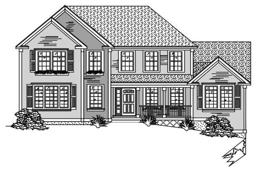 This image is the front elevation of these European Houseplans.