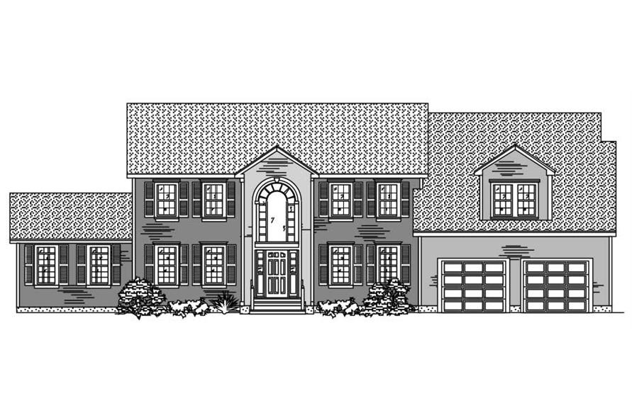 This is the black and white front elevation of these European House Plans.