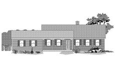 This is a black and white rendering of these Ranch House Plans.