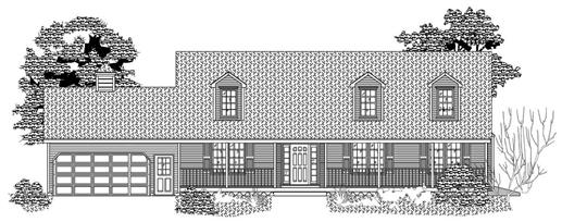 This image is the front elevation of these Country Ranch Houseplans.