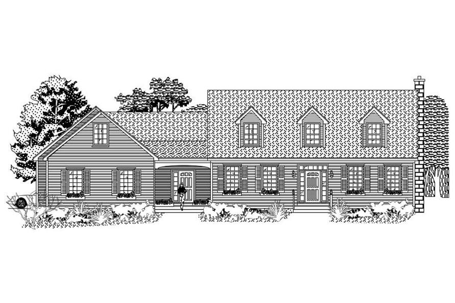 This picture is the front elevation for these Ranch Home Plans.