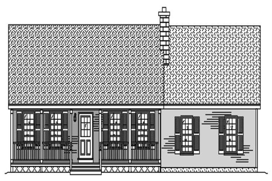 This is a black and white front elevation of these Country Ranch Home Plans.