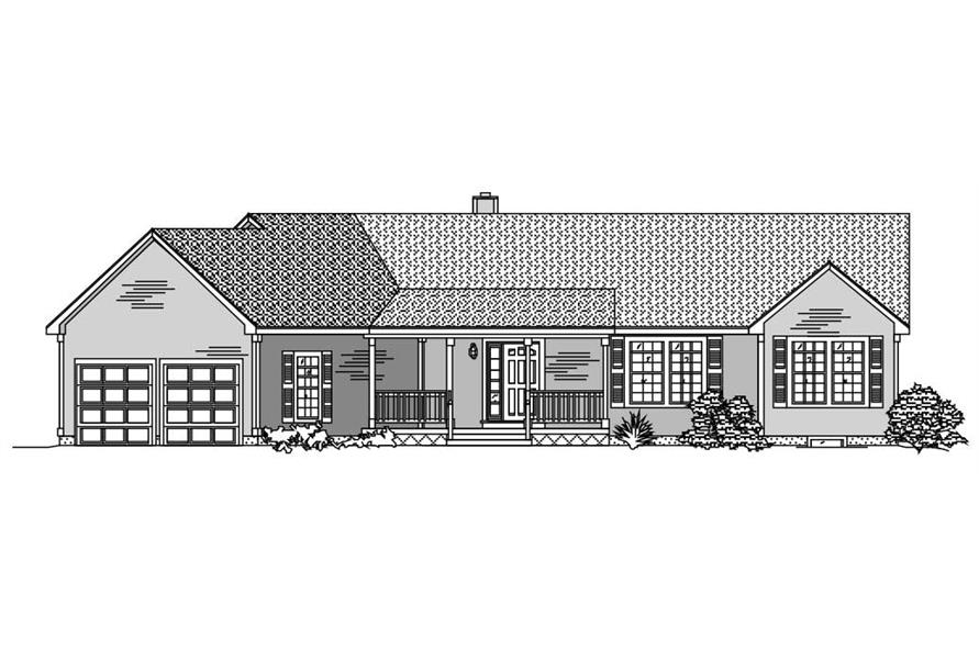This is a black and white front elevation of these Ranch House Plans.