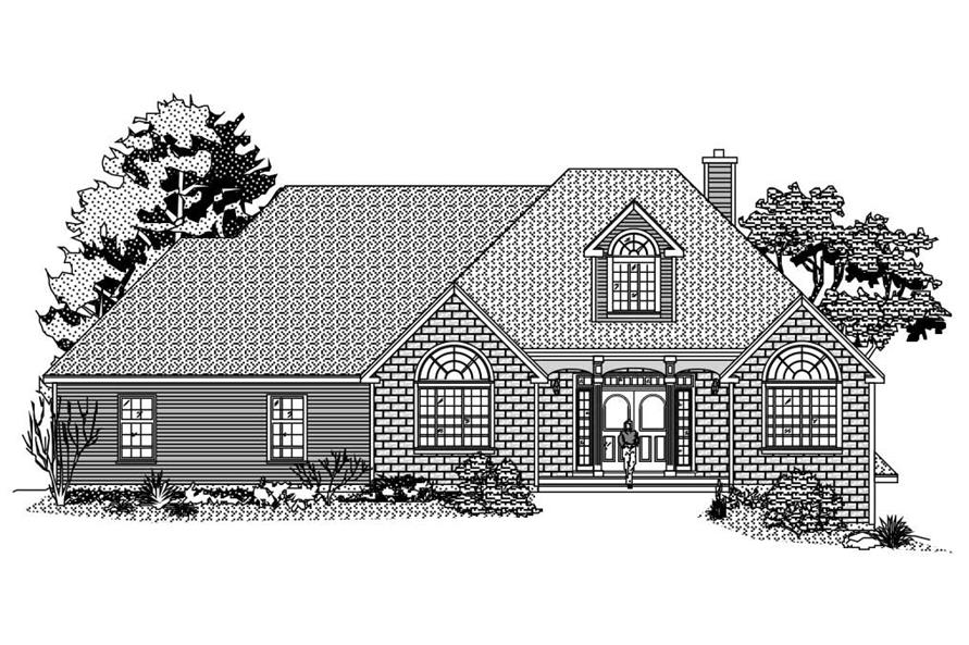 This is the black and white front elevation of these European Homeplans.