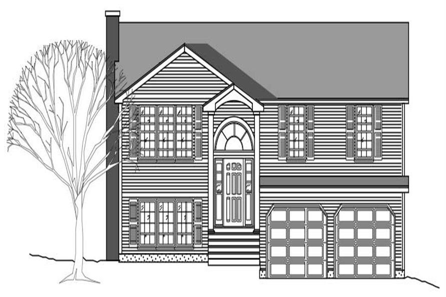 This image shows the front elevation of these Multi-Level House Plans.