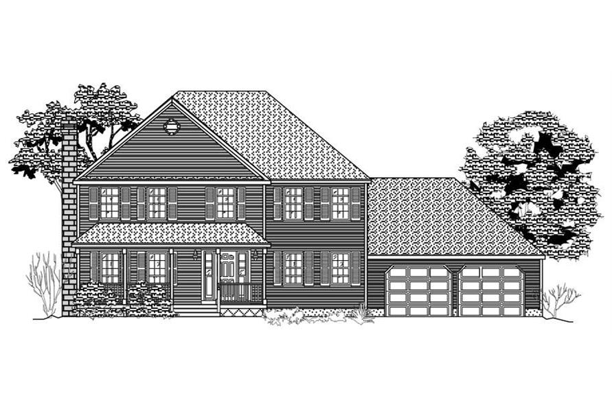 This image is the front elevation for these Traditional House Plans.