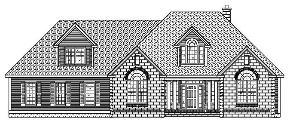 This image shows the front elevation of these European Homeplans.