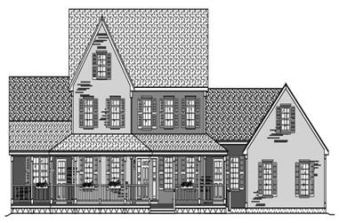 This is a black and white drawing of these Farmhouse Houseplans.