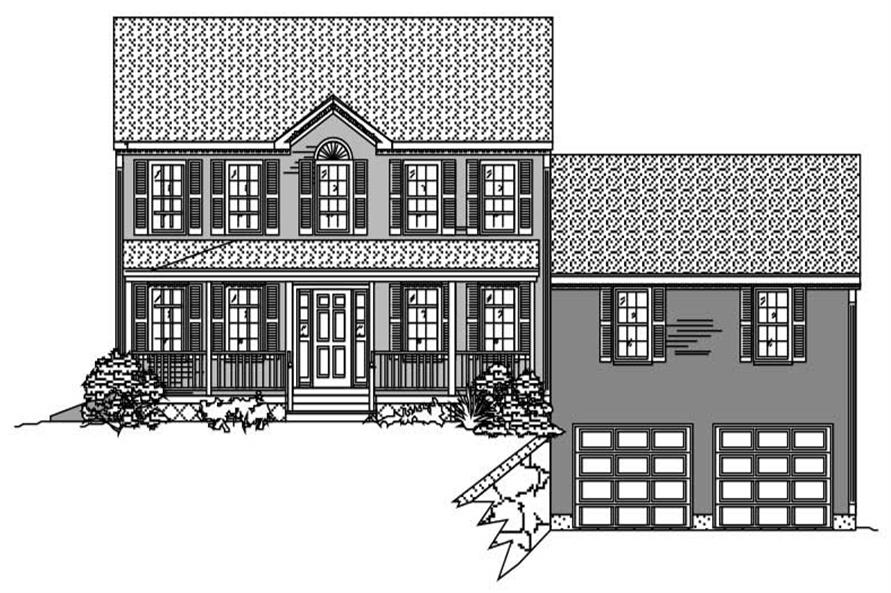 This is a black and white front rendering of these Country Homeplans.