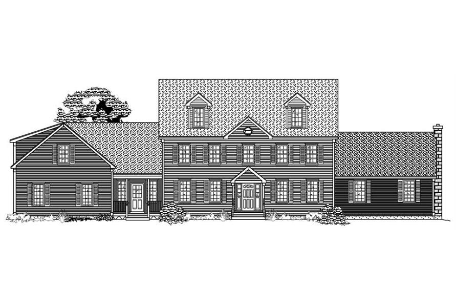 This is a black and white front elevation for these Country Home Plans.
