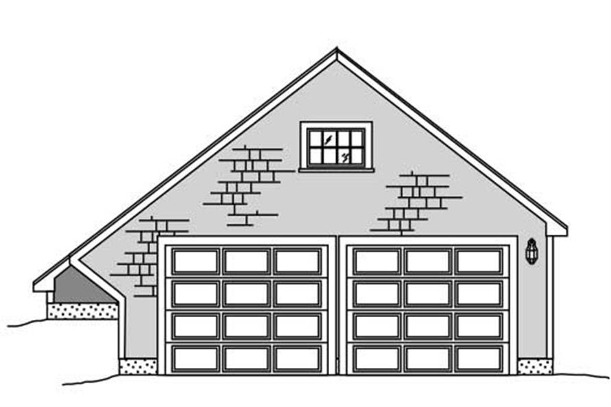 This is the front elevation of a garage plan.