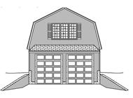 This is a black and white drawing of the front of these garage plans.