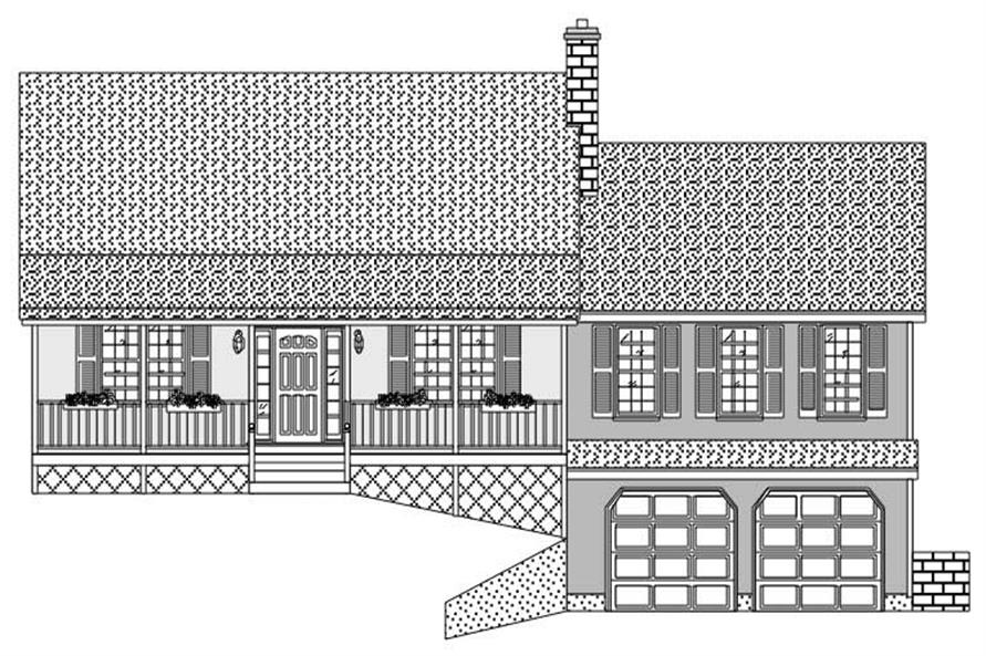 This image is a black and white front elevation for these Country House Plans.