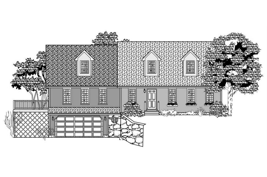 This is the front rendering of these Country House Plans.