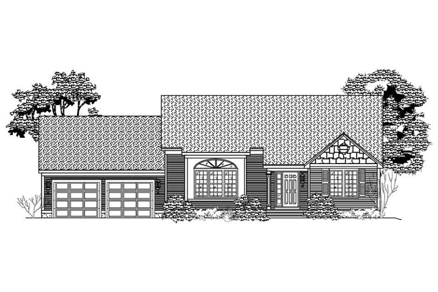 This is a black and white front elevation of these Ranch Home Plans.
