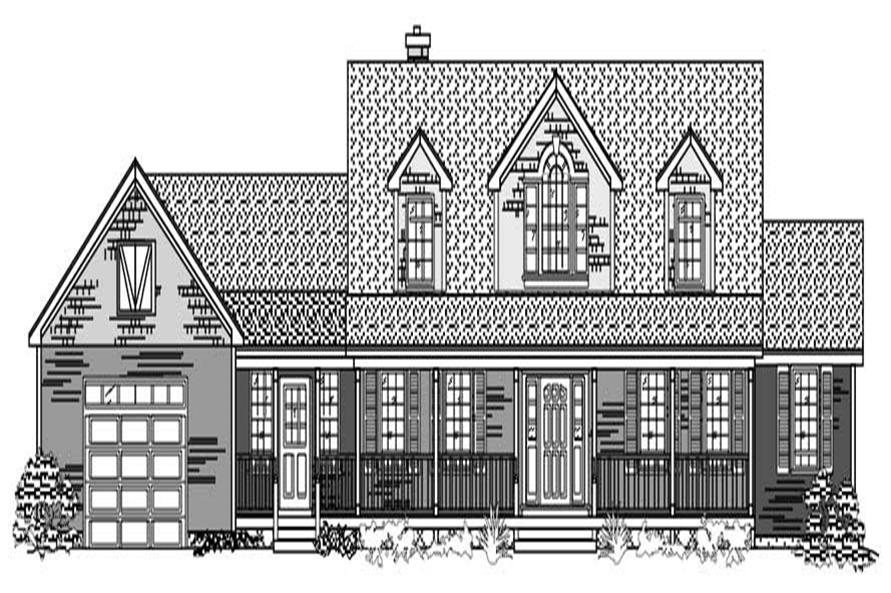 This is the front elevation for these Farmhouse Houseplans.