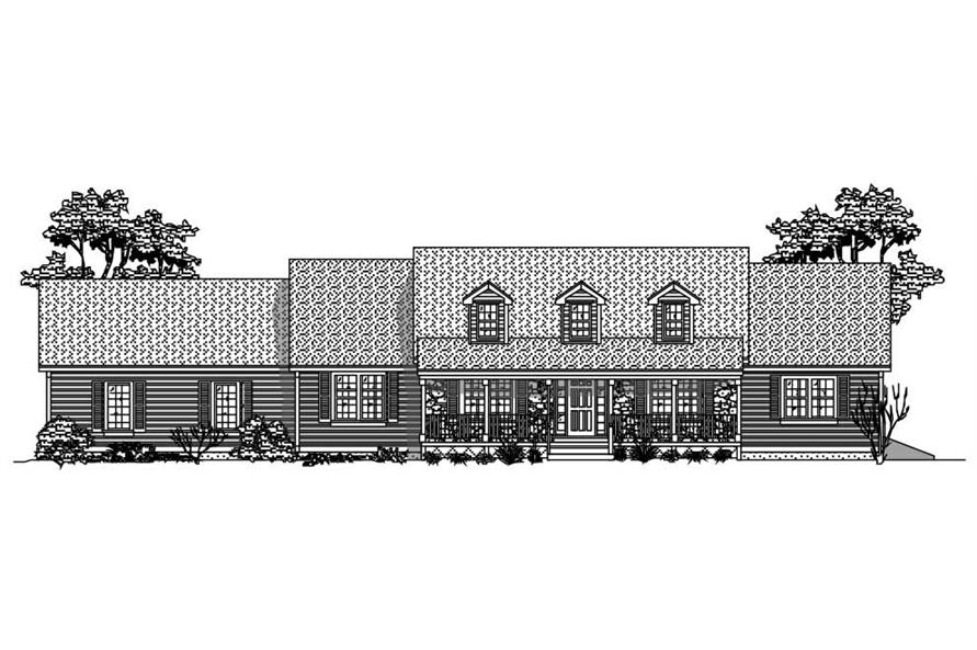 This is a black and white elevation of these Ranch House Plans.