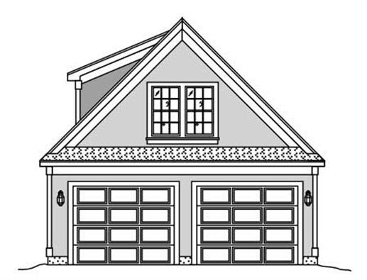 This is a plain, black and white rendering of these garage plans.
