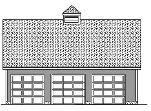 This image shows these garage plans from the front.