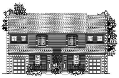 This is a black and white front elevation of these Multi-Unit Homeplans.