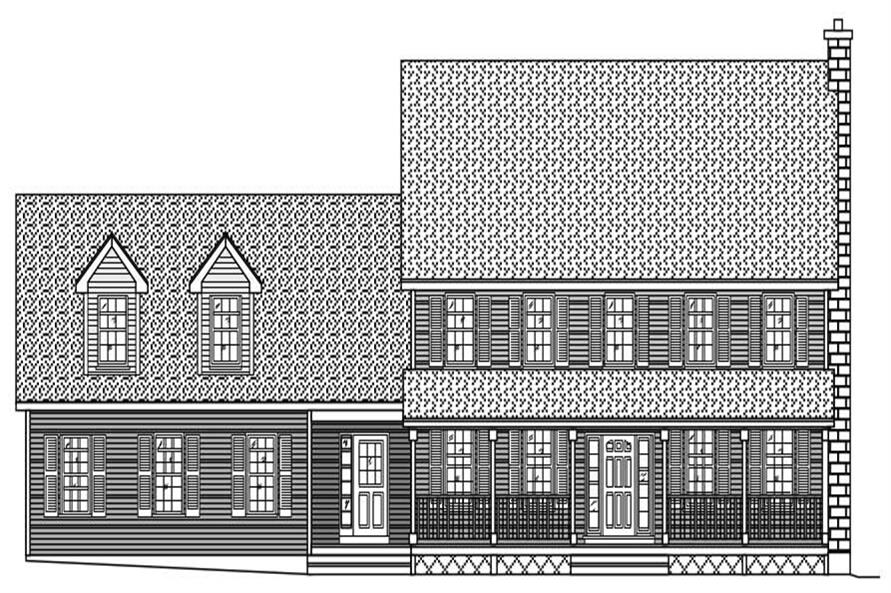 Here is yet another set of black and white front elevations for these mundane Traditional House Plans.
