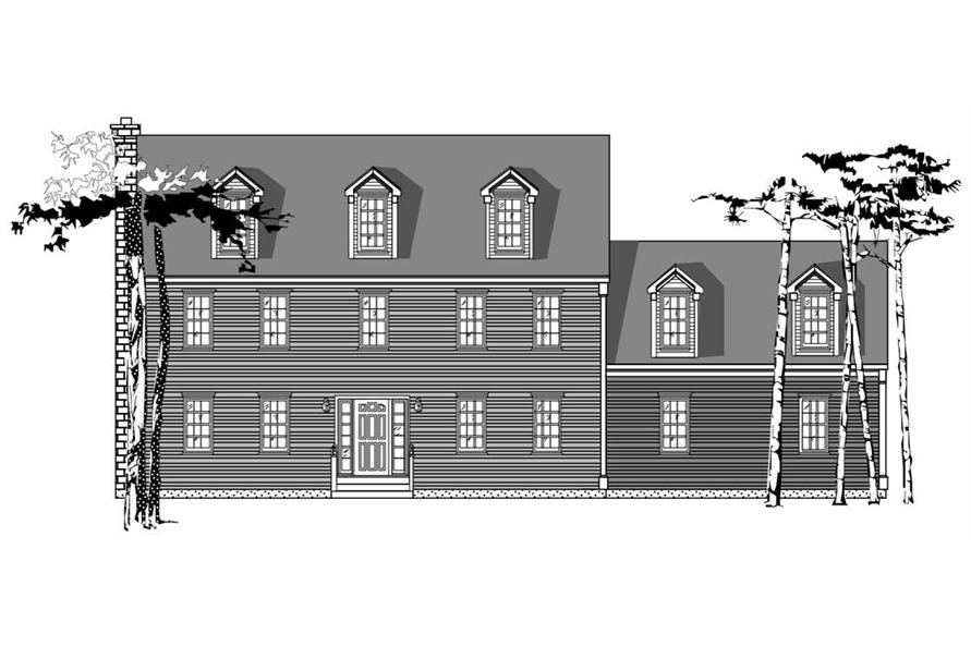 This is the front elevation (in black and white) of Traditional House Plans 1-1128.