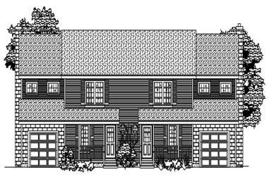 2-Bedroom, 3044 Sq Ft Multi-Unit Home Plan - 110-1173 - Main Exterior
