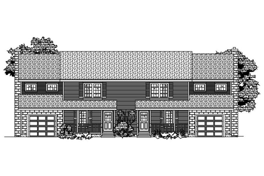 This is the front elevation for these Multi-Unit Houseplans.