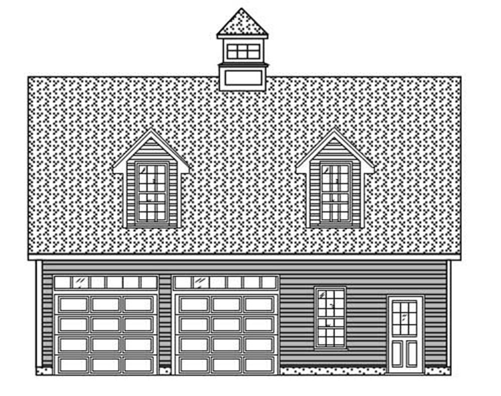 This is a colorless front elevation of these Garage Plans.
