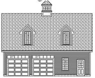 This is a black and white front elevation of these Garage Plans