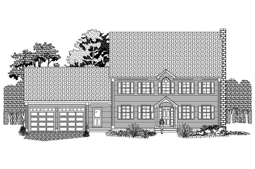 This is the front elevation of these Traditional Homeplans.
