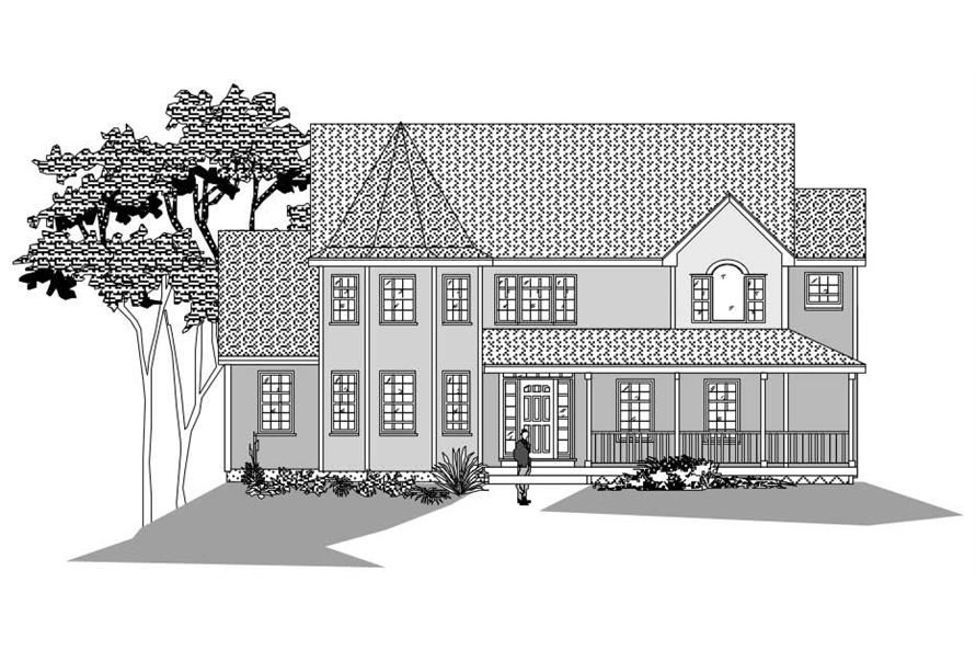 This image shows the front elevation of these Victorian Homeplans.
